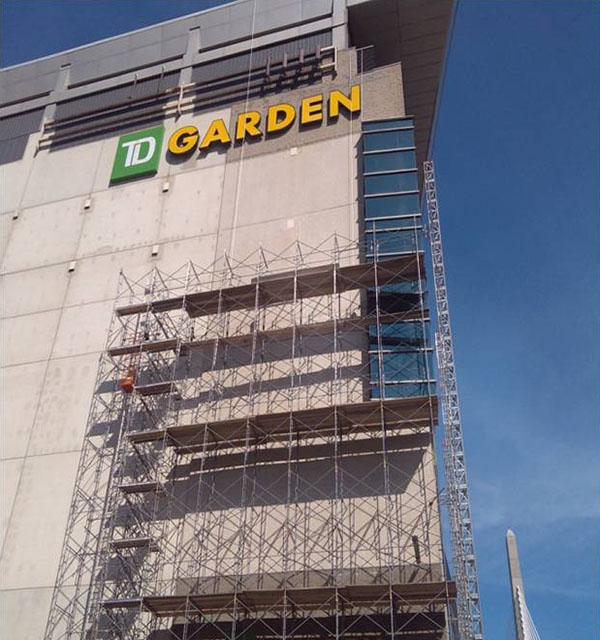 scaffolding at TD Garden