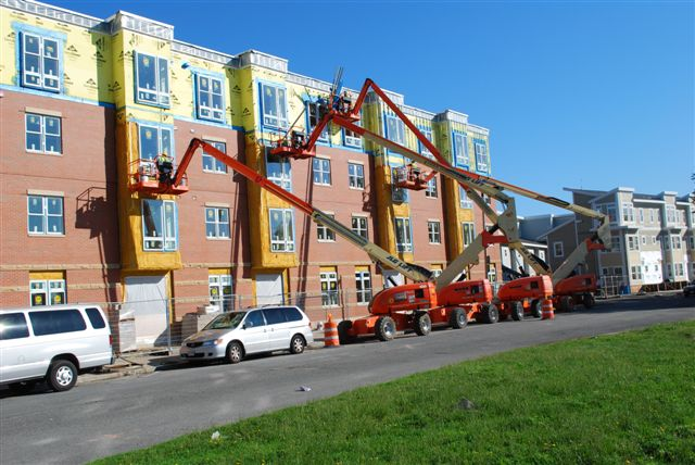 boom lifts at Old Colony Housing Development