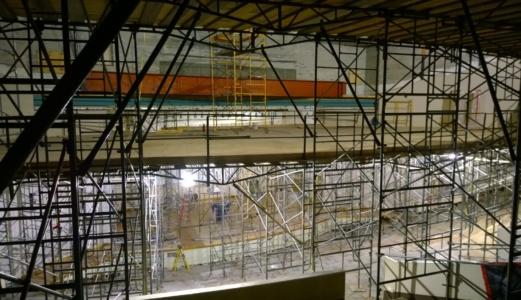 McVinney Auditorium scaffolding